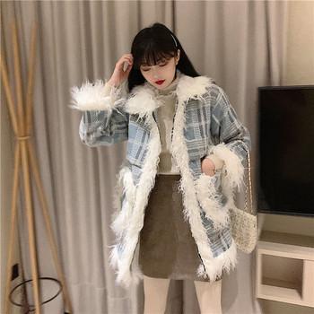 Дълго карирано палто с джобове и пух