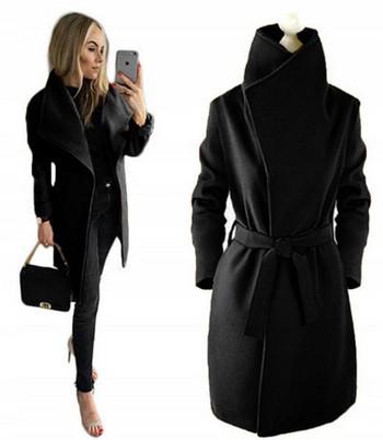 Стилно дамско палто с колан и висока яка в три цвята