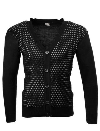 Плетена мъжка жилетка в черно