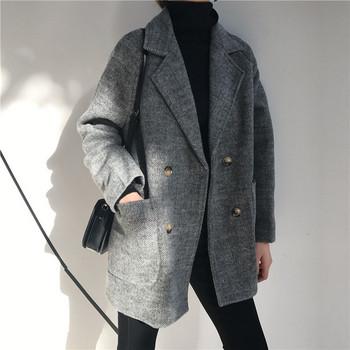 Дамско карирано пролетно-есенно палто в сив цвят с копчета