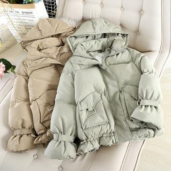 Дамско модерно зимно яке с качулка и джобове в четири цвята