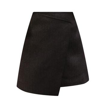 Модерна дамска пола - асиметричен модел в черен,кафяв и сив цвят