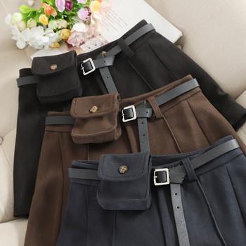 Ежедневни дамски къси зимни панталони с висока талия и колан
