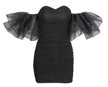 Модерна дамска къса рокля с тюл в бял и черен цвят