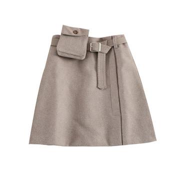 Ежедневна дамска пола с висока талия и колан в три цвята