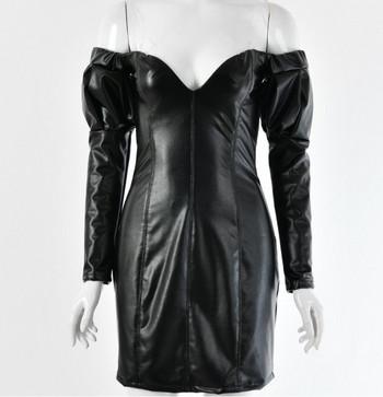Елегантна дамска къса кожена рокля с дълбоко деколте в черен цвят