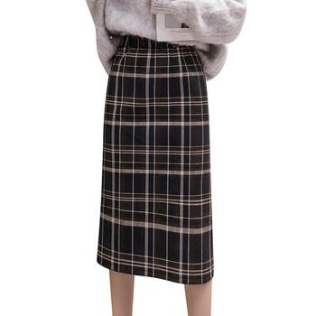 Модерна дамска карирана пола с висока талия -два цвята