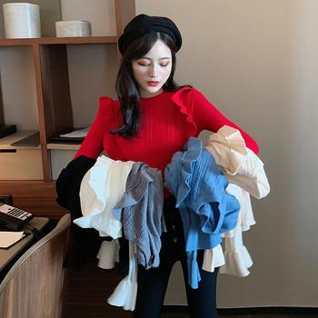 Дамски втален пуловер с къдри - много цветове