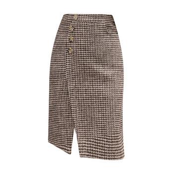 Нов модел дамска карирана пола с копчета и цепка в кафяв и черен цвят