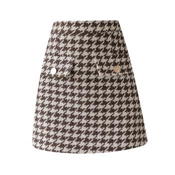 Актуална дамска карирана пола с висока талия в кафяв и черен цвят