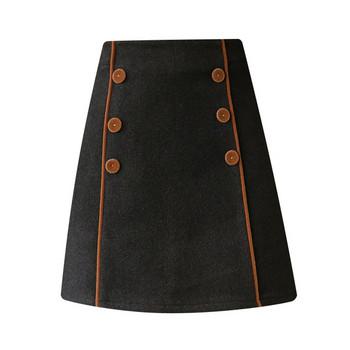 Модерна дамска пола с висока талия и копчета в черен и бежов цвят