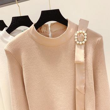 НОВ модел дамски пуловер с перли и лотос ръкав в четири цвята