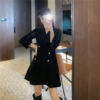 Дамска елегантна рокля в бял и черен цвят с дантела и копчета