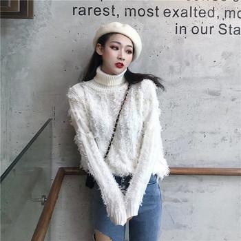 Дамски плътен пуловер с поло яка и ресни в два цвята