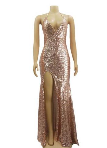 НОВ модел дамска дълга рокля с дълбоко деколте и пайети в розов цвят