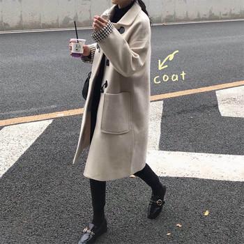 Дълго пролетно-есенно палто в сив и бежов цвят
