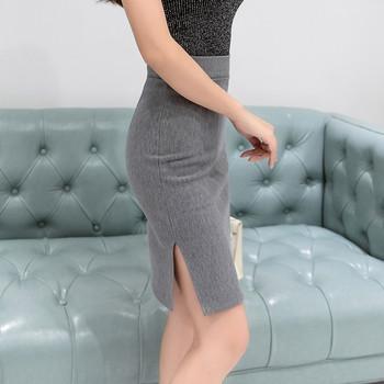 Стилна дамска пола Slim модел с висока талия в сив,червен и черен цвят