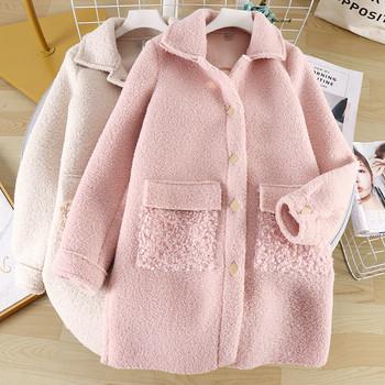 Ежедневно дамско дълго палто с копчета и джобове в три цвята