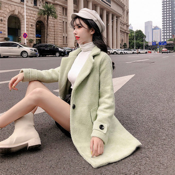 Дълго пролетно-есенно елегантно палто в бежов и зелен цвят
