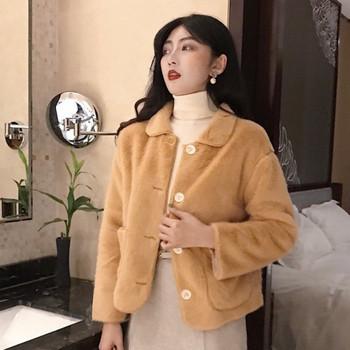 Модерно дамско късо палто с копчета в бежов и кафяв цвят