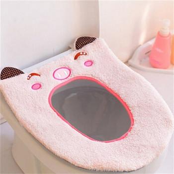 Мека постелка за тоалетна чиния с бродерия в различни цветове