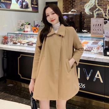 Модерно дамско дълго широко палто в кафяв и черен цвят