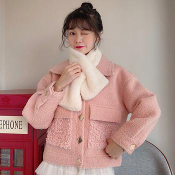 Късо пролетно-есенно пухено палто в бял и розов цвят