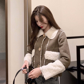 Дамско ежедневно късо палто с копчета и мека подплата в сив и кафяв цвят