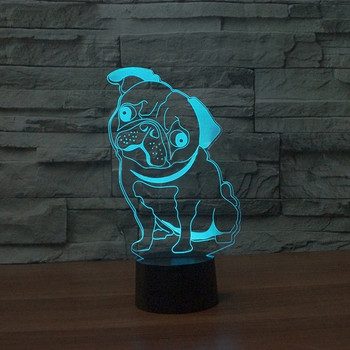 3D LED лампа със сензорно управление на цветовете във формата на куче