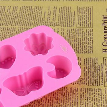 Удобна силиконова форма за печене с шест форми в розов цвята