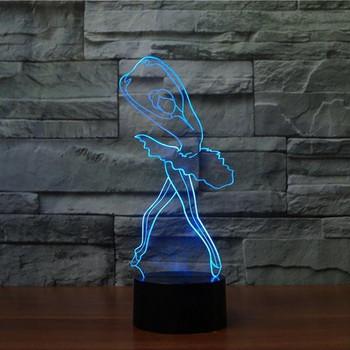 3D LED лампа със сензорно управление на цветовете във формата на балерина