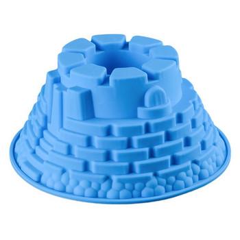 Силиконова форма за печене на кекс в три цвята - Замък