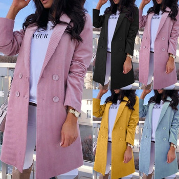 НОВ модел дамско дълго палто с копчета в четири цвята