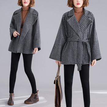 Модерно дамско карирано палто с връзки в сив цвят