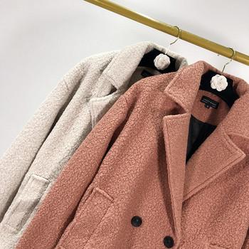 Дълго дамско пухено палто с копчета и джобове в два цвята