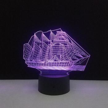 Настолна 3D LED лампа с дистанционно управление на цветовете във формата на кораб