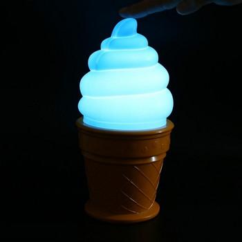 Нощна LED лампа във формата на сладолед в бял, розов и син цвят