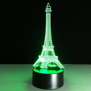 Настолна 3D LED лампа с дистанционно управление на цветовете във формата на Айфеловата кула