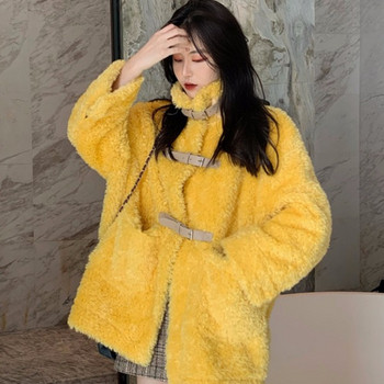 Ежедневно дамско палто с висока яка в жълт и зелен цвят
