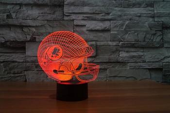 Настолна 3D LED лампа с дистанционно управление на цветовете във формата на каска