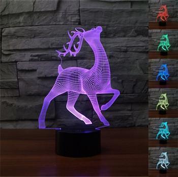 Настолна 3D LED лампа с дистанционно управление на цветовете във формата на елен