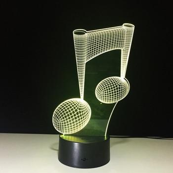 Настолна 3D LED лампа с дистанционно управление на цветовете във формата на музикална нота