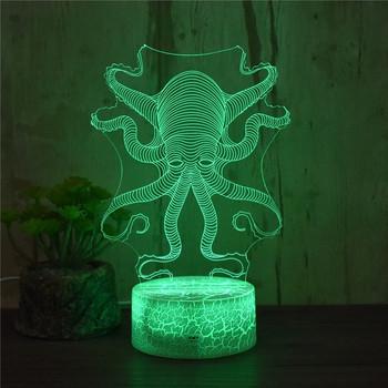 Настолна 3D LED лампа с дистанционно управление на цветовете във формата на октопод