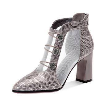 Стилни дамски обувки с мрежа и дебел ток в два цвята
