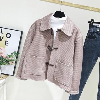 Нов модел карирано дамско палто с копчета и джобове в розов цвят