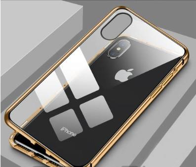 Магнитен калъф включващ предно и задно стъкло за iPhone X и iPhone XS в златист цвят