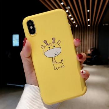 Силиконов калъф с апликация на жираф за iPhone XS Max в жълт цвят