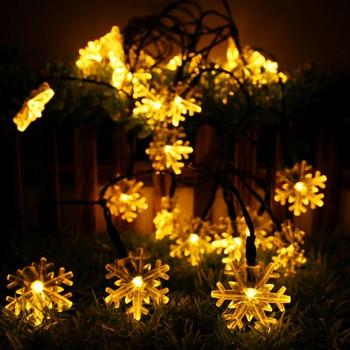 Коледни LED лампички във формата на снежинки в бял, жълт и шарен цвят - 6 метра