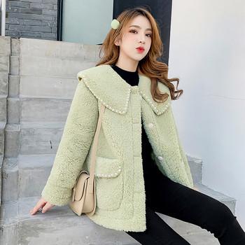 Модерно дамско палто с перли и джобове в зелен и бял цвят