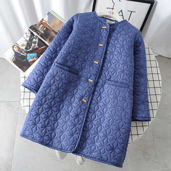 Модерно дамско дълго палто с копчета и джобове в бежов и син цвят